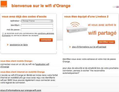 Page d'accueil Orange WiFi partagé