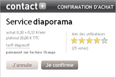 confirmation d'un service Contact+