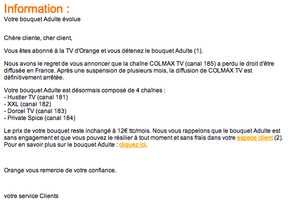 mail annonçant l'arrêt de Colmax TV