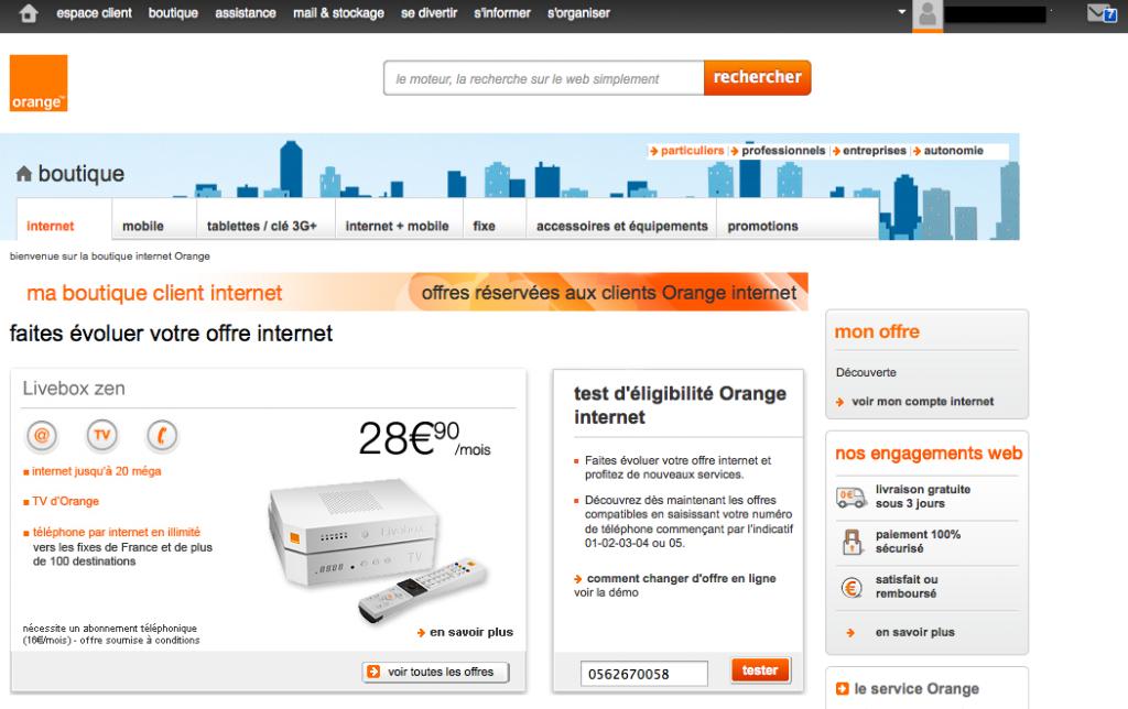 Boutique Orange Internet en 2012