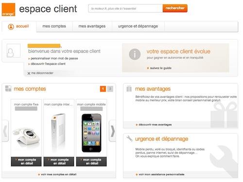 Espace Client Orange en juillet 2012
