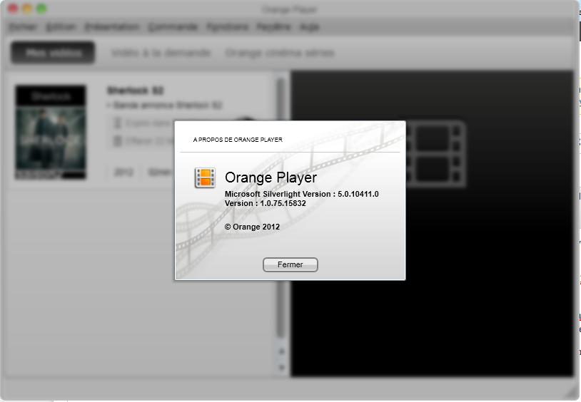 Orange Player utilisant SilverLight