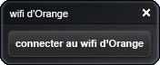 Proposition de connexion au WiFi d'Orange