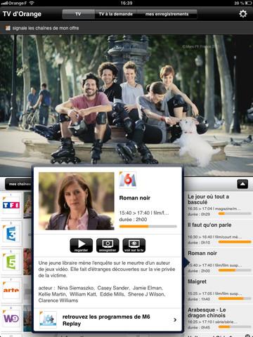 TV d'Orange sur iPad