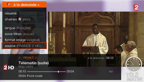 séletion de source sur la TV d'Orange